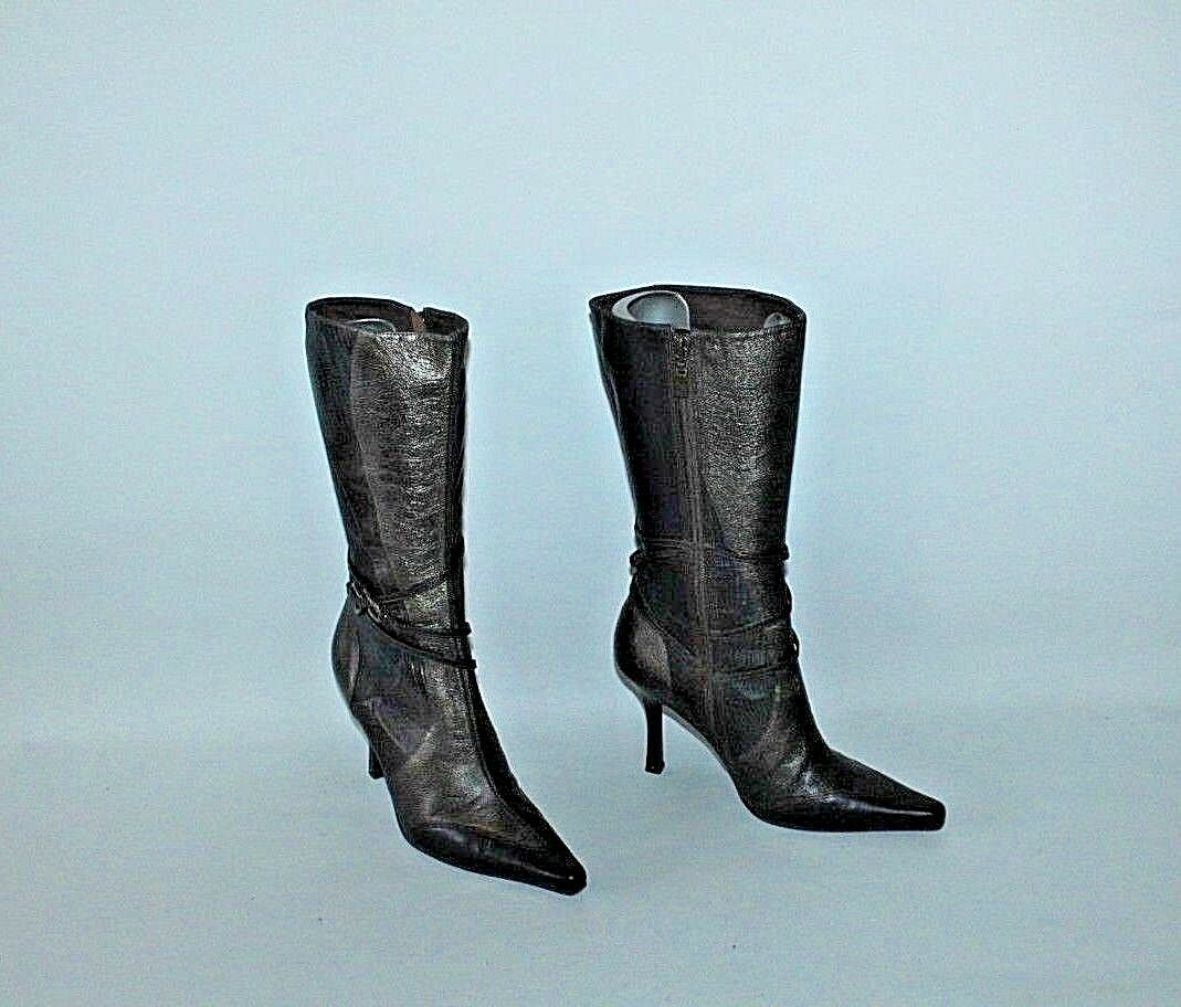 Braun Leder FAITH Zip Strap Pointed Mid Casual Calf High Heel Casual Mid Stiefel Größe 5 /38 822233
