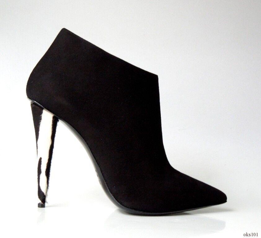 new 985 Giuseppe ZANOTTI black suede ZEBRA PONY HAIR heel ankle boots 38.5 8.5