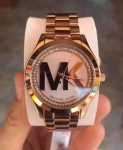 Michael-Kors-Mini-Slim-Runway-MK-Logo-Crystal-Watch-MK3549-Rosegold-tone