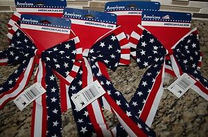 8 American Flag Bows Indoor Outdoor Decorations Red White Blue 4th of July
