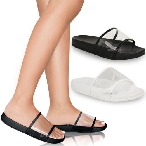 Womens Ladies Farrah Perspex Sandals Summer Beach Flip Flops Celeb Shoes Size