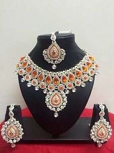 Indian-Bollywood-Style-Rose-Gold-Plated-Bridal-Fashion-Jewelry-Necklace-Set