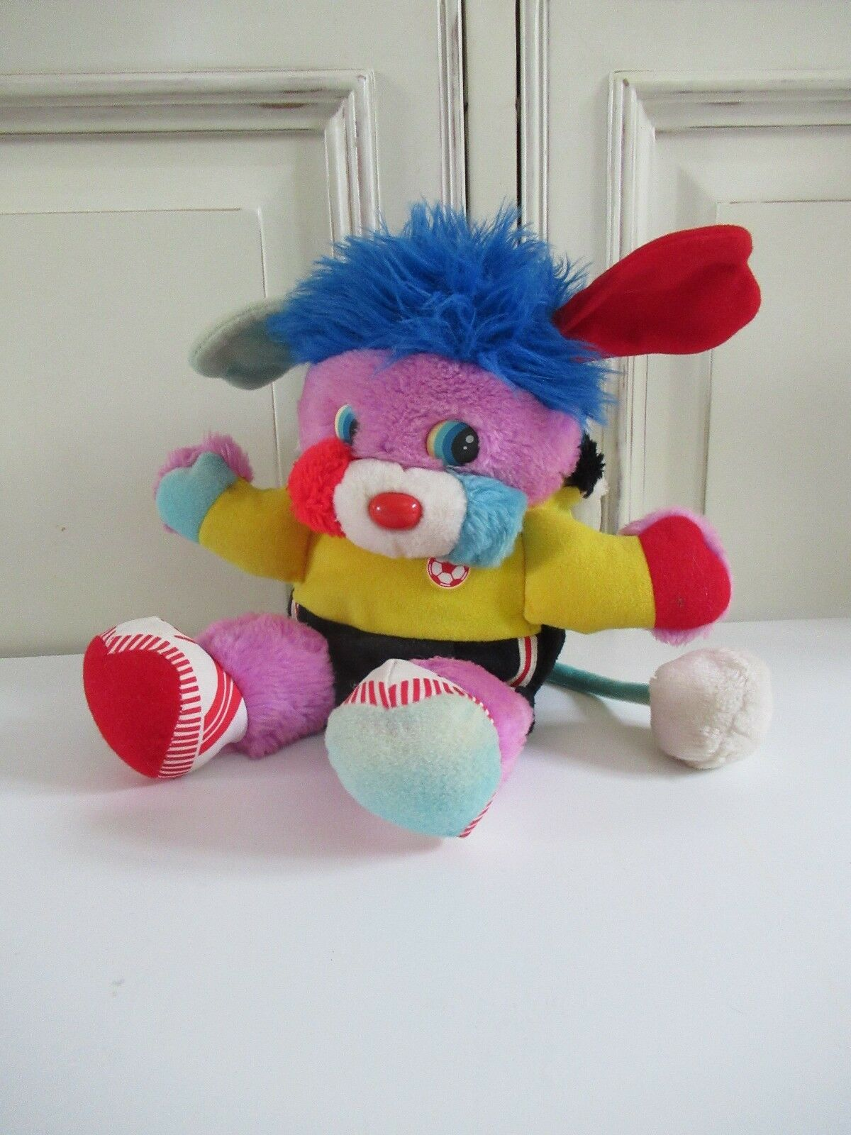 ☺ Ancienne Peluche Doudou Popples Sportif Football 30 Cm Vintage