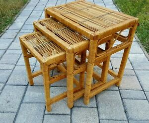 ... Vintage Set 3 Bamboo Rattan Nesting Tables MID