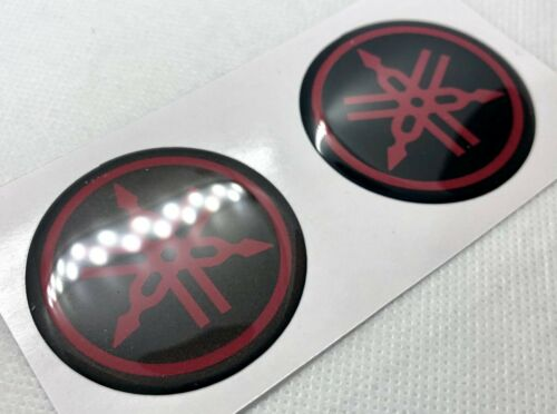 Black Red 47mm. Yamaha Roundal 3D Domed Stickers Details about  /2 pcs