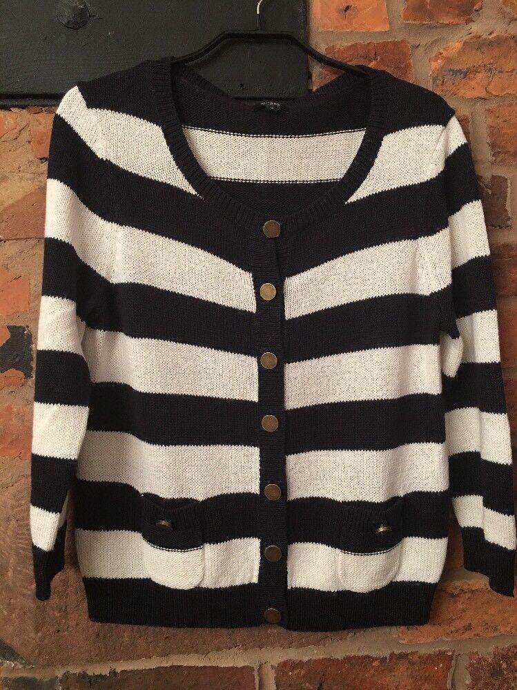 HOBBS Flax cotton Stripe Stripe Stripe Cardigan Bnwot 9373c5