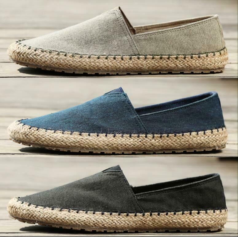 Fisherman shoes Men's Straw Casual Canvas shoes Linen Slip On Loafers Bt15