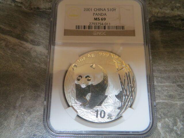 China 2001 1 Oz 999 Silver Panda 10 Yuan Coin NGC MS69 GEM BU+
