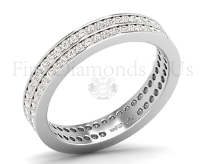 0.90Carat Round Brilliant Cut Diamonds Double Row Full Eternity Ring in 18K gold