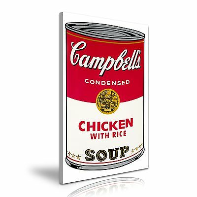 CAMPBELL'S CHICKEN WITH RICE SOUP Andy Warhol Canvas Framed Printed Wall Art