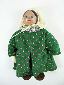 Hand-Made-Wooden-Doll-9-5-Inches-Wearing-Green-Ribbed-Dress-Muslin-Bonnet
