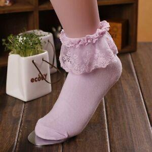 Women Lady Girls Ankle Fancy Fairy Retro Lace Ruffle Frilly Princess Short Socks