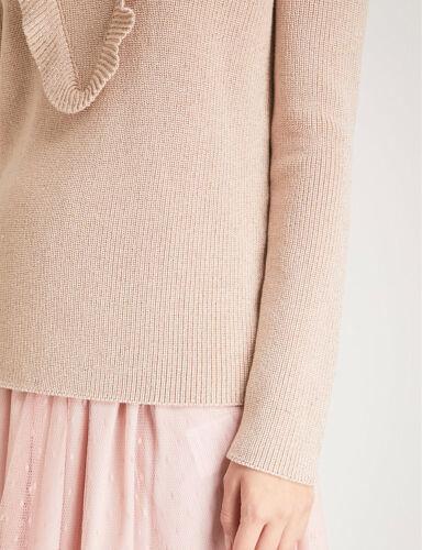 Bnwt Italian Ruffled Knit Red Metallic Valentino Cotton Blend Womens Jumper Made rzxrBqg4w