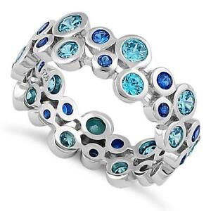 Genuine-925-Sterling-Silver-Sparkly-Eternity-Aqua-Blue-Spinel-CZ-Ring-All-Sizes
