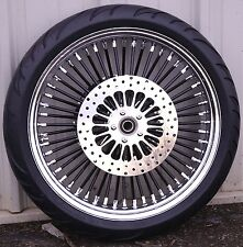 Black 21 3.5 52 Fat Spoke Mammoth Front Wheel Tire Package Harley Touring 08-17