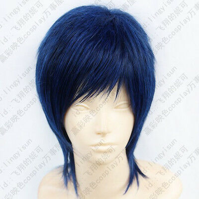 283 Kuroko's Basketball Aomine Daiki Short Blue mix Black Cosplay Wig