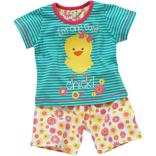 Lullaby Toddler Girls Cute Chick Striped Floral Shortie Summer Pyjamas