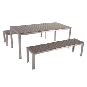 Tavoli E Panche Da Esterno.Set Di Tavolo E Panche Da Giardino In Alluminio E Legno Sintetico Grigio Nardo Ebay