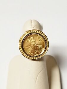 14k Solid Yellow Gold 2015 1 10 Oz 22k Gold Liberty Five 5 Coin Ring Size 6 Ebay