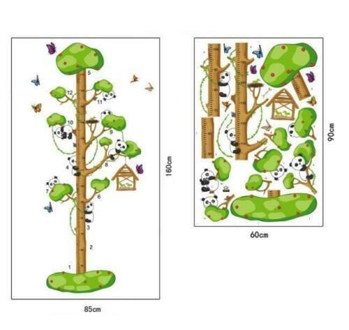 Wandtattoo Wandposter Kinderzimmer Messlatte Baum Panda Tiere 85 x 160 W055