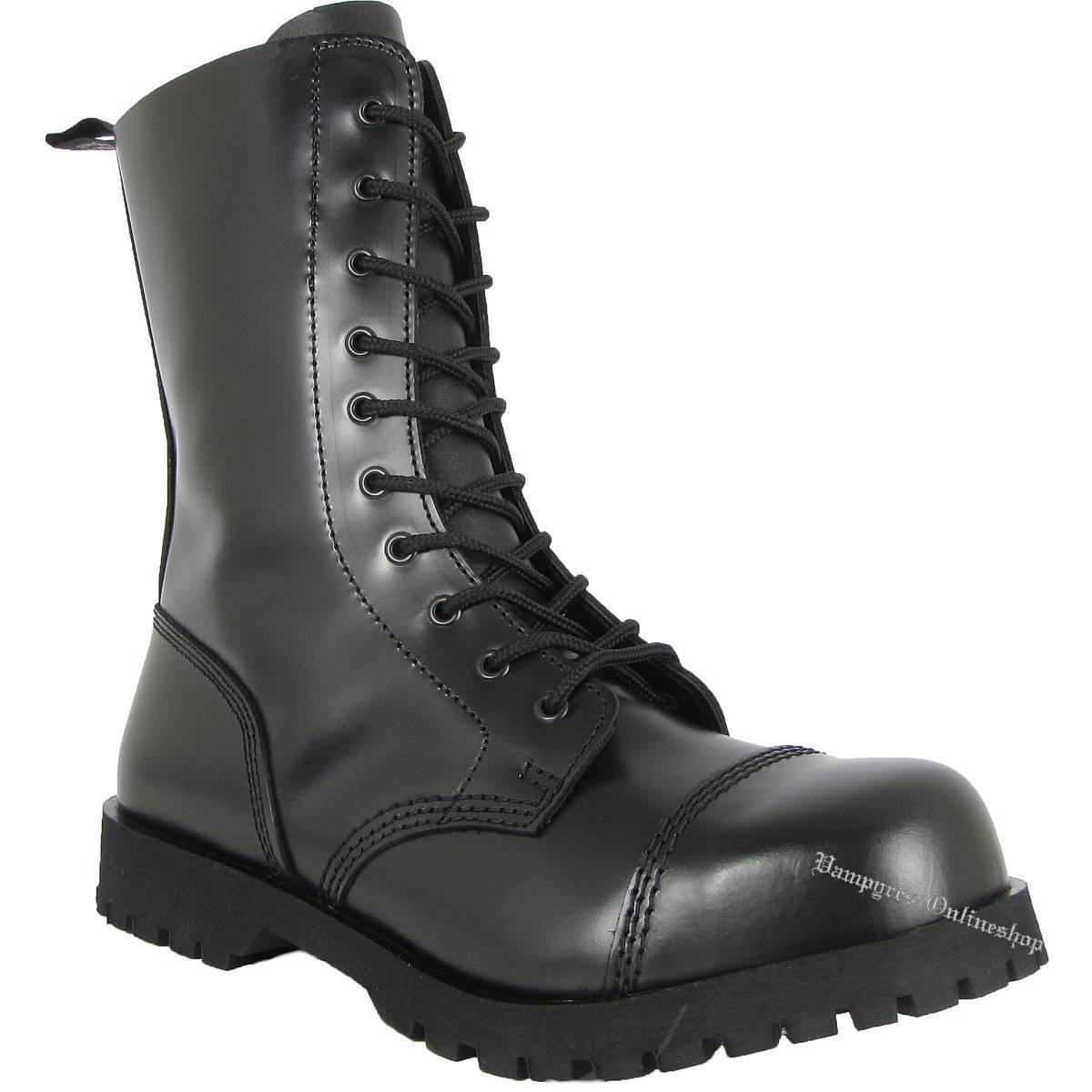 Boots & Braces botas 10 agujeros negro and cuero rangers acero tapas Noir Black