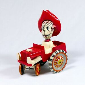RARE-Vintage-Louis-Marx-Tin-amp-Plastic-Windup-Sheriff-Sam-Whoopee-Car-Toy-Jeep