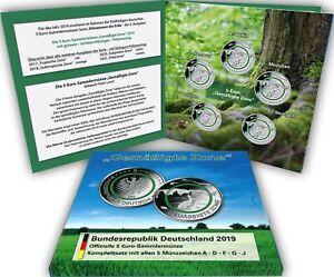 Deutschland-5-x-5-Euro-2019-Gemaessigte-Zone-Komplett-Satz-Mzz-A-D-F-G-J-im-Folder