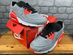 Nike Da Uomo UK 8 EU 42.5 AIR MAX 90 QS GRIGIO ROSSO NERO Scarpe da ginnastica donna RRP £ 140 C