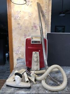 Vintage Eureka 3560 Red Canister Vacuum W/ Attachments | eBay