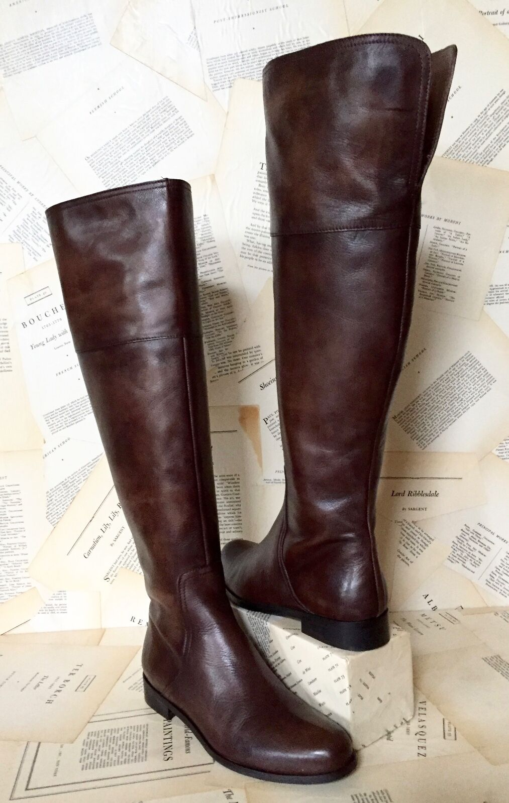 NIB Anthropologie Miss Albright Brown Antiqued Leather Leather Leather Over The Knee Boots 39 61e9b6