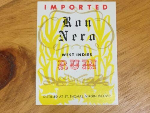 St Thomas Virgin Islands Imported Vintage RUM Labels ~ Ron Nero Rum