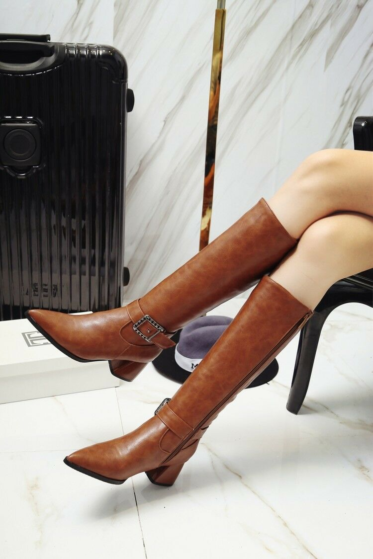 Winter Warm Womens Buckle Strap Pointed Toe Leather Block Heel Knee High Boots