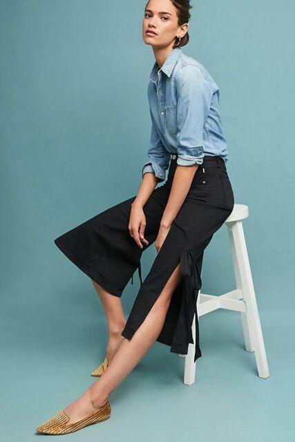 MCGUIRE DENIM High Rise Culotte Tie Me Up Side Slit Crop Wide Jeans 25 $268 #9
