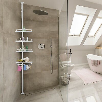 4 Tier Plastic Shower Corner Pole Caddy Bathroom Wall Shelf Storage Rack Holder Ebay