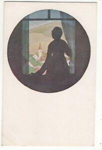 Vintage-Silhouette-Art-Postcard-Kato-Japan-174c