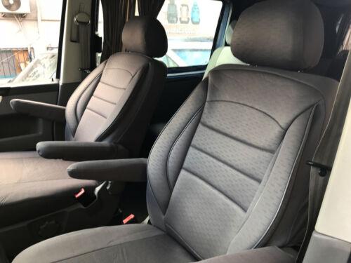 Fundas para asientos ya referencias Set VW t5 t6 recuadro Transporter dos asientos individuales gris