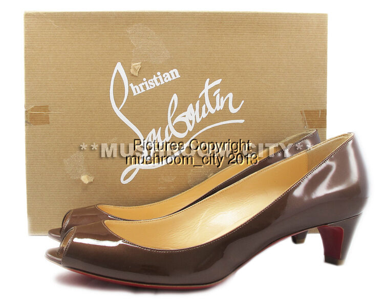 Gorgeous Christian Louboutin brown Glace You You 45 Metal Patent Heels 38