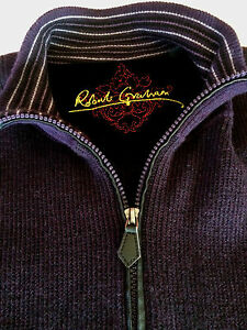 Mens-Robert-Graham-Pullover-2XL-100-Wool-1-4-Zip-Purple-Black-Elbow-Patches