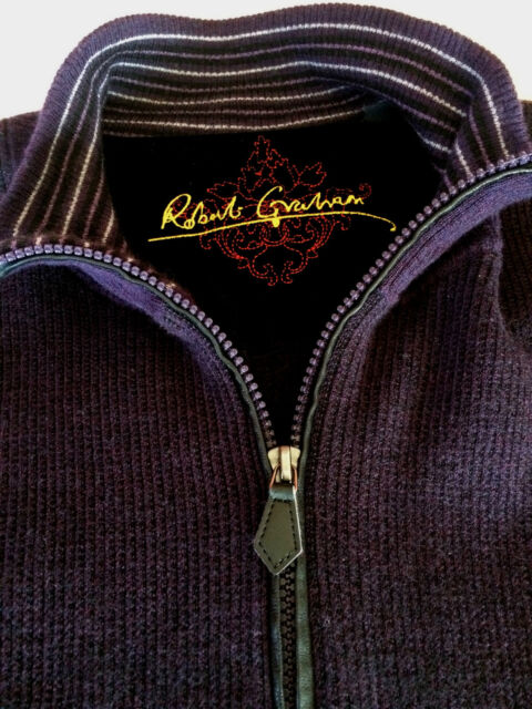Mens Robert Graham Pullover 2XL 100 % Wool 1/4 Zip Purple Black Elbow Patches