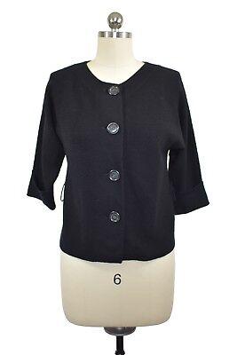 Banana Republic Womens Black Wool Cardigan Sweater Size Petite Small 3/4 Sleeve