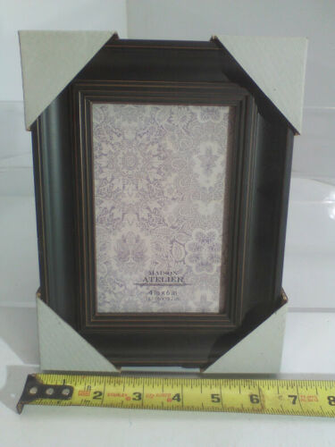 """1 4/"""" x 6/"""" Distressed Matte black picture frame for wall or table top"""
