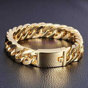 18K-Gold-Plated-Mens-Jewelry-316L-Stainless-Steel-Curb-Cuban-Chain-Bracelet-8-5-034