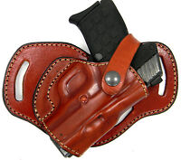 Brown Leather 3-slot Small Of Back (sob) Owb Holster For Glock 26, 27, 33