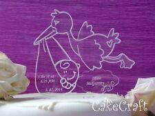 Baptism,Christening  Stork Engraved Acrylic Personalised cake topper decorations