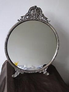 ANTIQUE-MIRROR-STERLING-SILVER-800-GERMAN-CIRCA-1880-FANCY-CHASING-MARKED