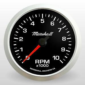 "Marshall 3-3/8"" In Dash Tachometer, Black Dial, Silver Bezel, 2051"