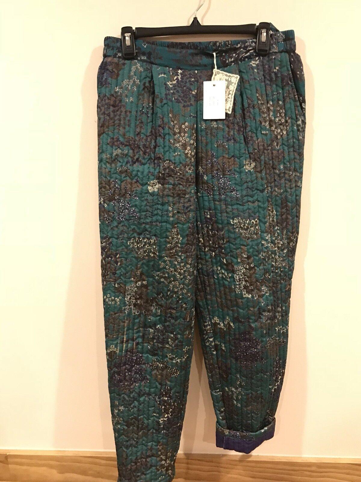 "MES DEMOISELLES PARIS ""TORINO"" Quilted Silk Women's Pants , Size 38 , NWT"