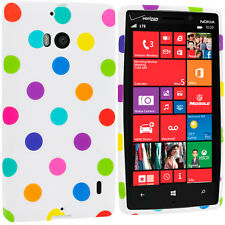 For Nokia Lumia Icon 929 TPU Design Rubber Soft Case Cover White Polka Dot