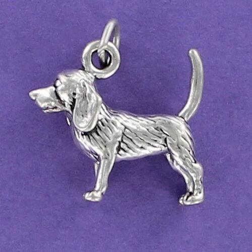 Beagle Dog Charm Sterling Silver for Bracelet Puppy Brown Spots Friendly Pet