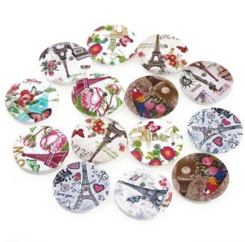 paris motif fleuri 20mm blanc à coudre craft boutons BU1164 20 en bois londres